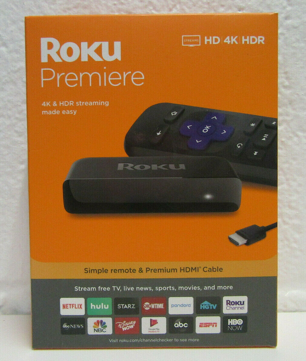 Roku Premiere 3920R HD/4K/HDR Streaming Media Player W/Remote, HDMI Cable SEALED 3920r cable hdmi media player premiere roku sealed streaming