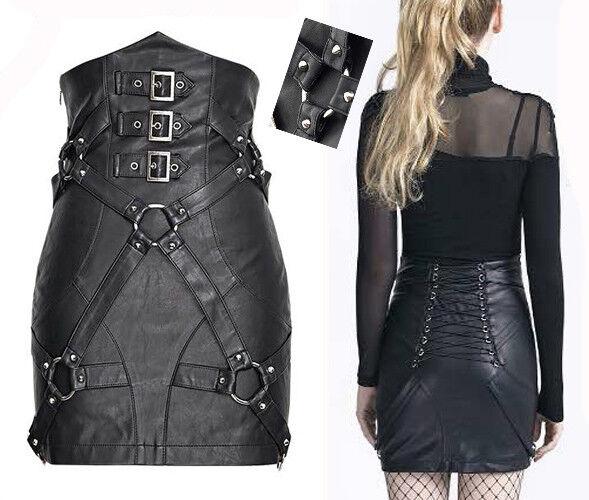High Waist Leather Skirt Gothic Punk Pinup Bondage Sexy Straps Corset PunkRave