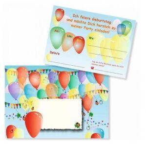 8 lustige einladungskarten bunte luftballons kinder