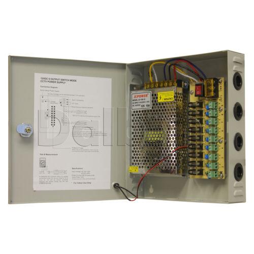 JC-120-12 9 O//P Wall Mount Power Supply 10 A 12 V 9 Port for CCTV Camera DVR
