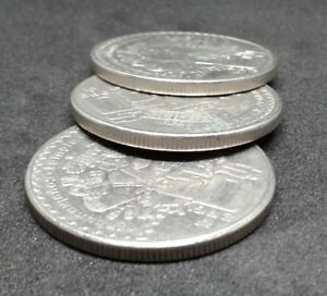 Mexico-Large-50-pesos-Crown-size-set-of-3-coin-Copper-Nickel-Aztec-Coyolxauhqui