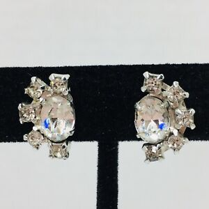 Vintage-Art-Deco-Rhinestone-Earrings-Screwback-Oval-Round-Cut-Crystal