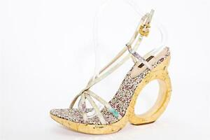61647650d4c691 Image is loading LOUIS-VUITTON-Womens-Gold-High-Heel-Sculpted-Wedge-