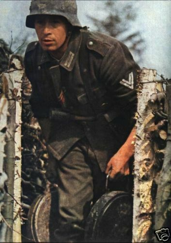 COLOR WWII Photo German Soldier with Anti Tank Mines WW2 World War Two Wehrmacht