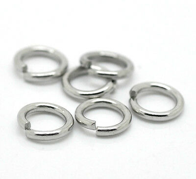 Stainless Steel Open Jump Rings Silver Tone M0995
