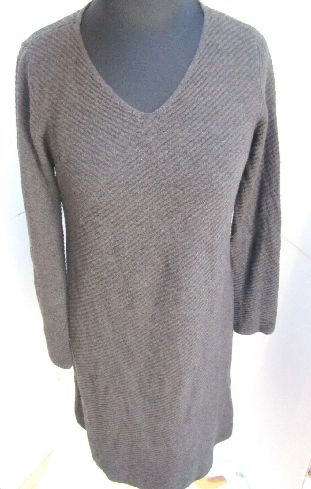 Eileen Fisher Lightwt grau Smooth Wool Knit Bias Cut Dress M MINT