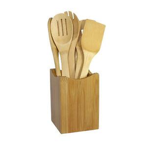 6x set bambus utensil k che holz kochen werkzeuge l ffel spachtel mischen 4h ebay. Black Bedroom Furniture Sets. Home Design Ideas