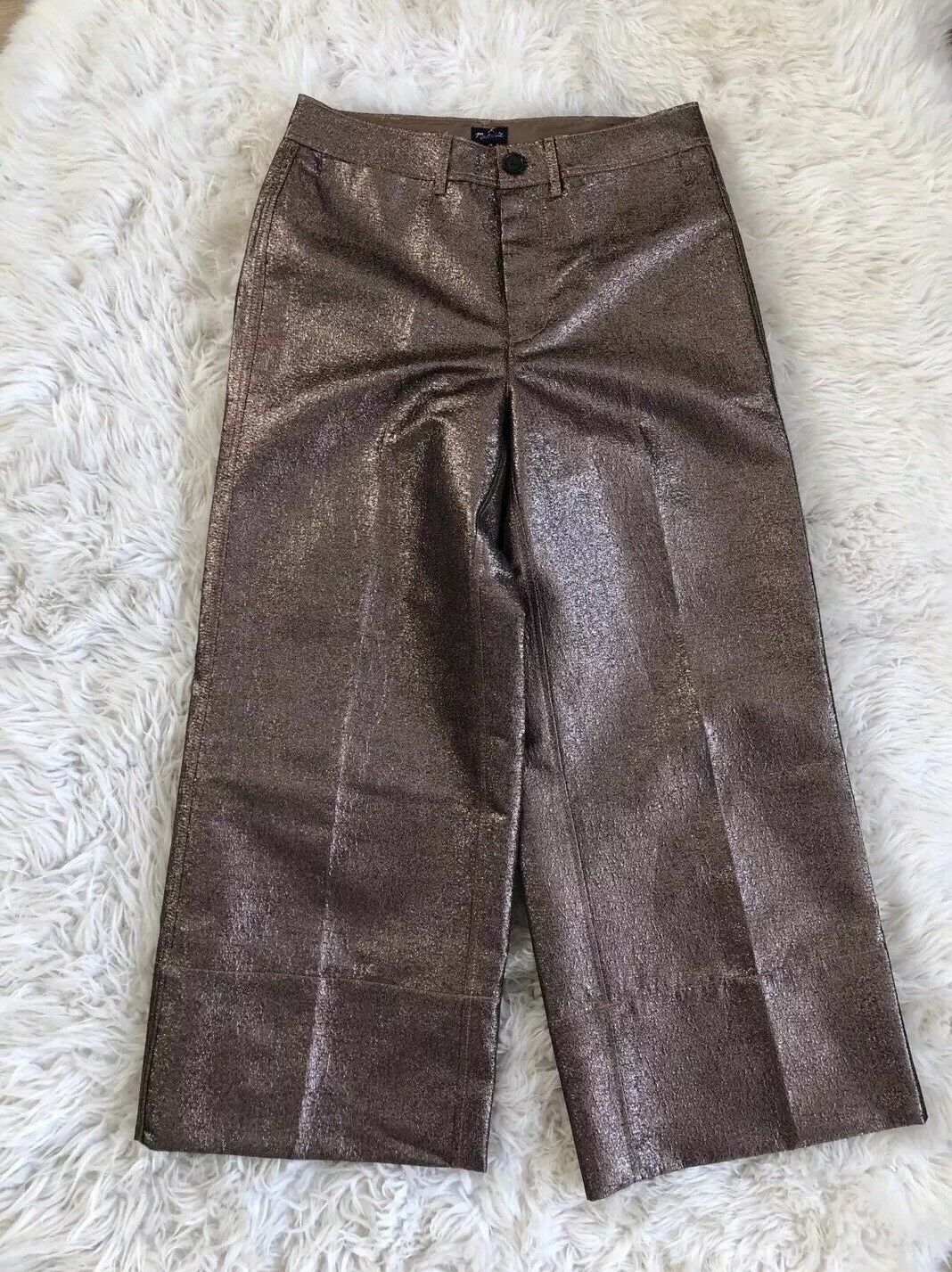New Madewell Langford Wide-Leg Crop Pants in Metallic Sand Copper gold 29 H3022