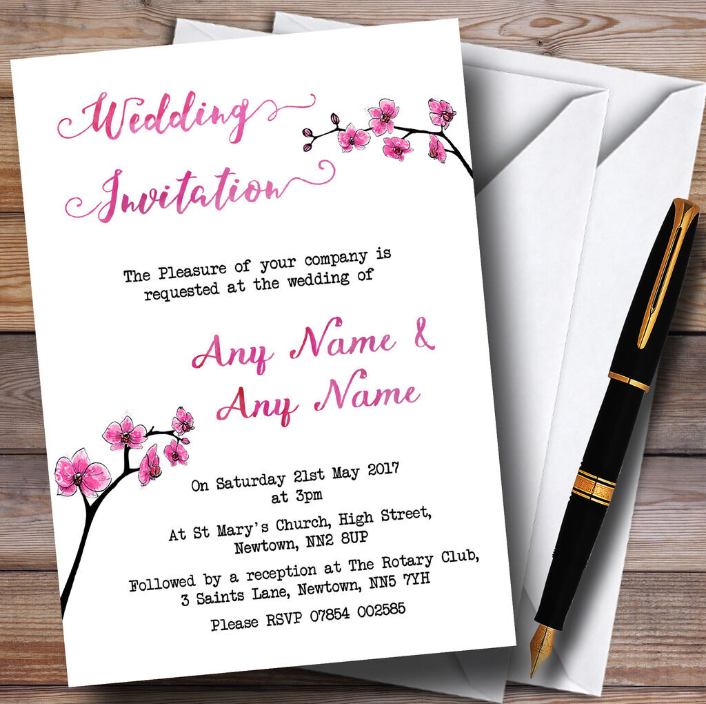 Pink Pink Pink cherry blossom aquarelle personnalisé mariage invitations f408ab