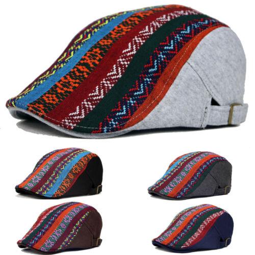 Men Women Colorful Striped Floral Beret Cap Peaked Cabbie Casual Warm Flat Hat