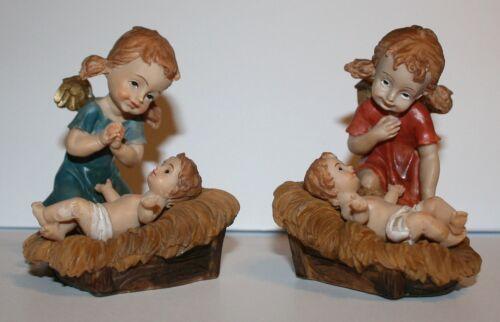 Dekoration Engel mit Jesuskind in Krippe 2erSet 2 Motive Polyresin 8 cm h Deko