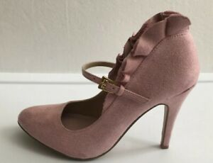 7fa3f227aab Details about Newport News Womens Pink Sued Stiletto Heel Forever 21 Size 5  1/2