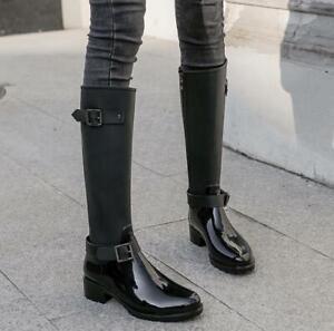 New Women's Low Heel Rain Knee High