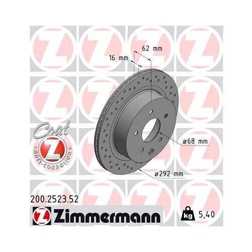 2x Disque De Frein Frein nouveau ZIMMERMANN 200.2523.52