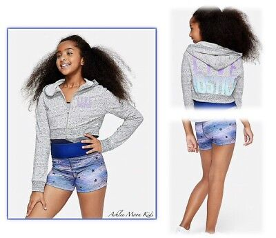 NWT JUSTICE Girls 8 10 12 14//16 Gray Hoodie /& Reversible Shorts Outfit