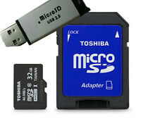 New Toshiba 32GB Class 10 Micro SD Secure Memory with SD Adapter & Free USB Card