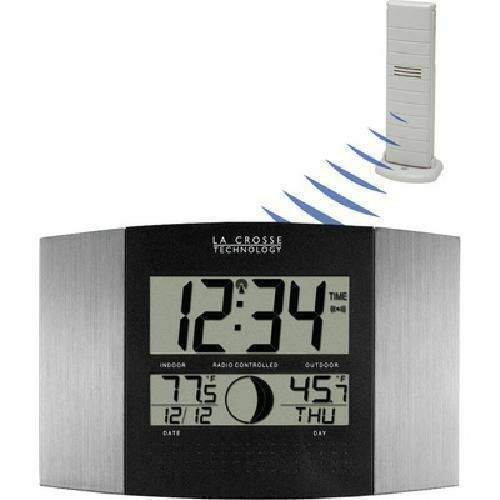 La Crosse Digital Atomic Wall Clock w/ Indoor Outdoor Temperature Sensor Silver