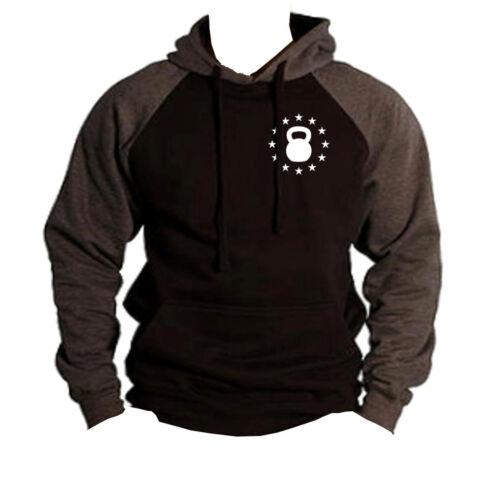 Men/'s Kettlebell Star Emblem Charcoal Raglan Hoodie Workout Fitness Gym MMA V401