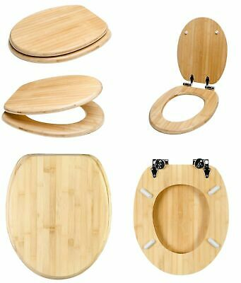 BAMBOO WOODEN QUALITY MDF TOILET SEAT LUXURY WC STRONG SILVER HINGES BATHROOM