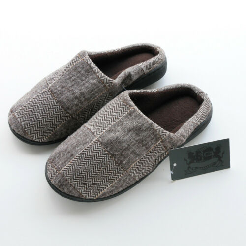 MENS SLIPPERS BROWN TWILL FLEECE LINED BY BRUNO GALLI SIZES 6 8.5