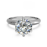 2.00 Ct Round Cut Solitaire Diamond Engagement Ring 14K White Gold Size L M N