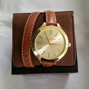 Michael Kors Women's MK2256 'Runway' Slim Double Leather Watch - Gold