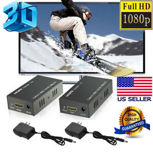 Lot-HDMI-LAN-EXTENDER-OVER-CAT-5E-CAT-6-RJ45-UP-TO-200FT-1080P-With-2-AC-Adapter