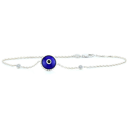 14K White Gold Diamond Evil Eye Bracelet Blue Nazar 7.5 Inches
