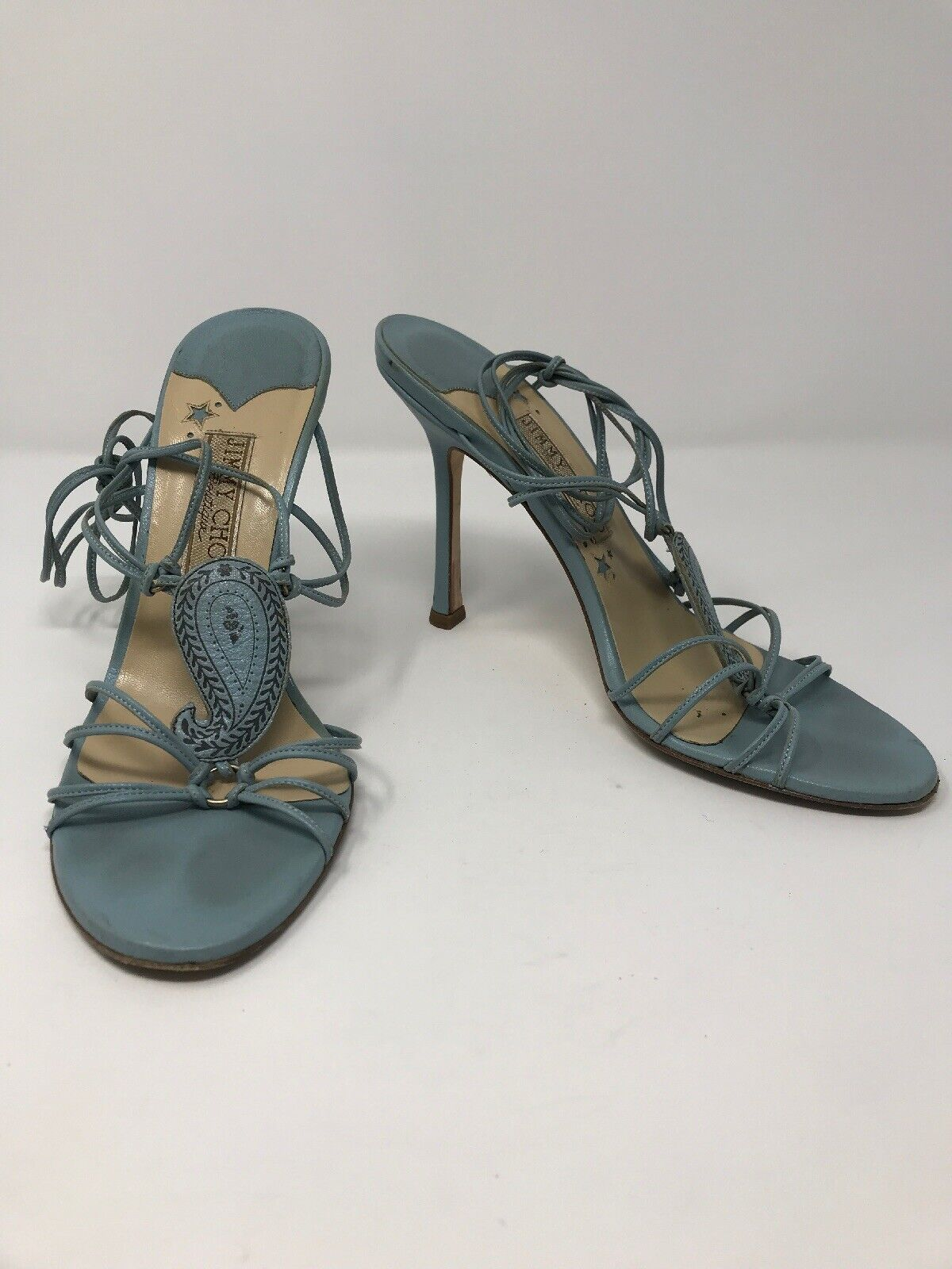 Jimmy Choo Boutique Light blueee Wrap Around Leather Sandals Size 38
