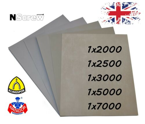SANDPAPER 5 SHEETS P2000 P2500 P3000 P5000 P7000 GRIT WET AND DRY WATERPROOF