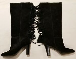 2e5ce3f693 Image is loading Cosmopolitan-Black-Leather-Fringe-Knee-High-Heel-Boots-