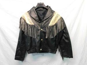Vintage-XL-Black-Faux-Leather-Snake-Skin-Fringe-Jacket-Rocker-Biker-Coat-Woman