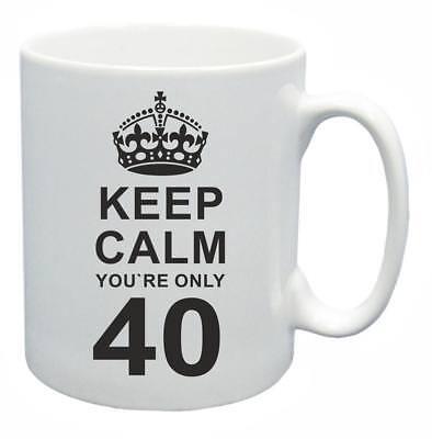 Capace 40th. Regalo Compleanno Novità Tazza Da Tè Keep Calm Il Tuo Solo 40 Tazza Di Caffe'- Buono Per L'Energia E La Milza