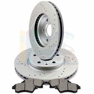 2X Front Brake Discs Rotors and 4X Ceramic Pads For 2011-2018 Sienna Drill Slot
