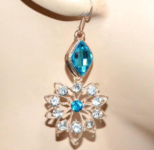 Orecchini donna oro dorato cristalli azzurri celesti pendenti strass fiore CC65