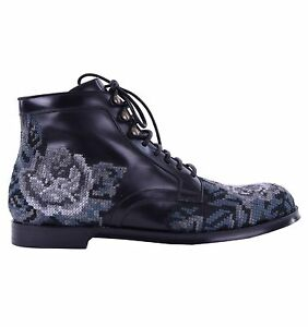 DOLCE GABBANA RUNWAY Barock Stickerei Stiefeletten Schuhe Schwarz Boots 03824
