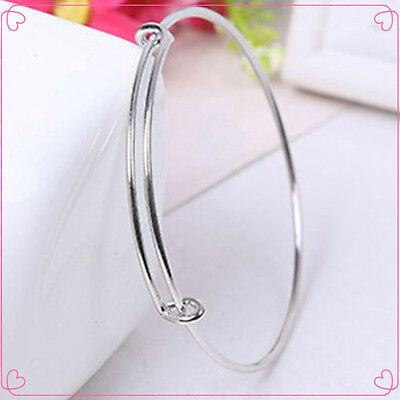 2PCS Popular Womens Expandable Wire Bangle Bracelet Adjustable Gold Silver Tone
