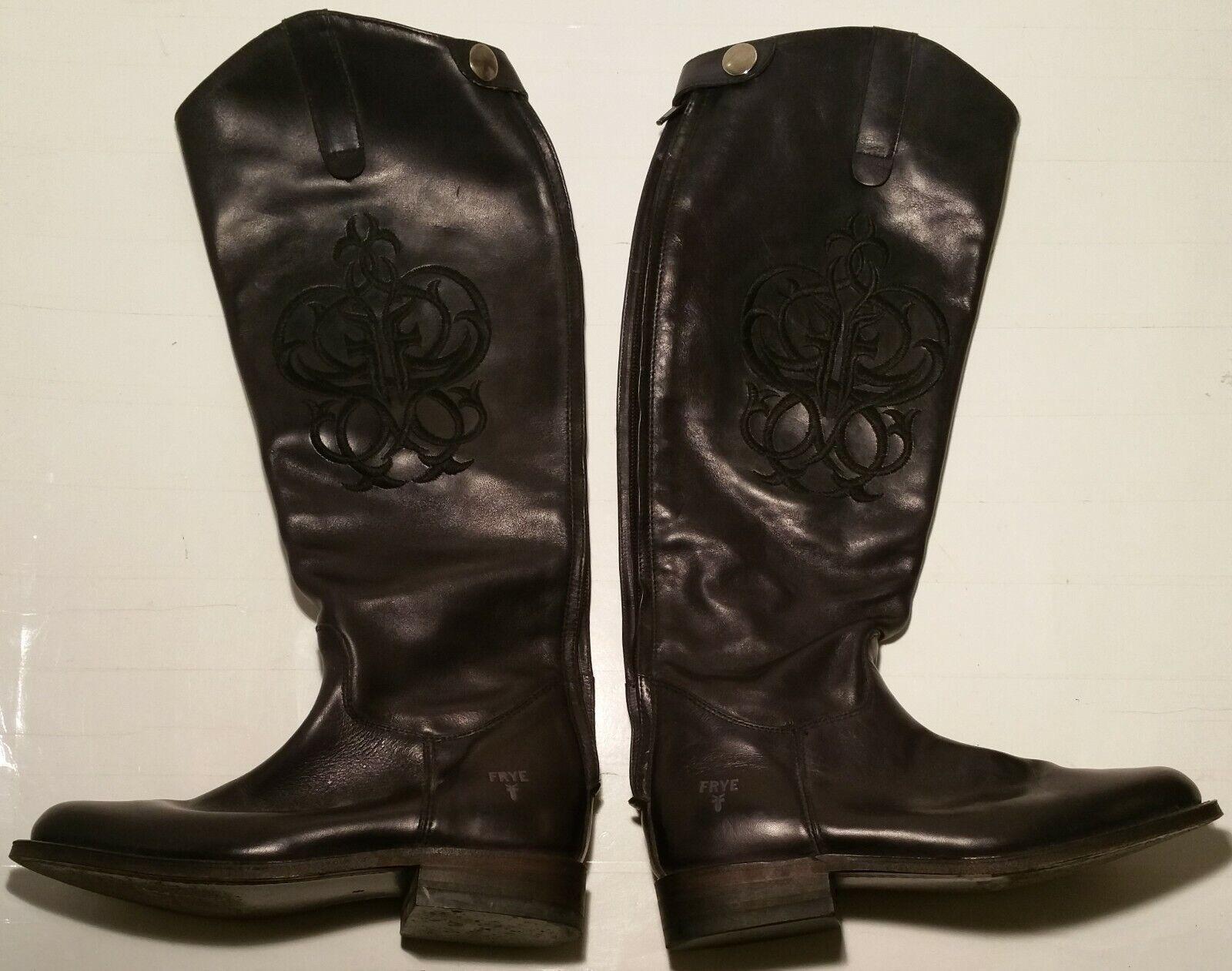 Frye Lindsay logotipo para mujer 6 M De Cuero Negro botas De Montar a Caballo De Bordado