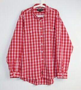 Thomas Cook Men's Red Check Oxford Collar Button Down Long Sleeve Shirt Size XXL