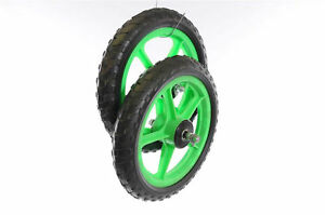 TWO-FRONT-12-034-300mm-GREEN-MAG-WHEELS-FOR-SCOOTERS-TROLLEYS-GO-KARTS-ETC
