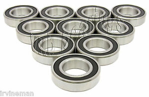 Pack of 10 Premium Quality 6201-2RS 12x32x10 12mm//32mm//10mm 6201RS Ball Bearings