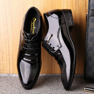 2019 New Mens Black Lace Up Oxfords
