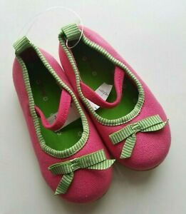 Baby-Gap-Girls-Mary-Jane-Ballet-Flats-Shoes-Bow-Pink-Green-Toddler-Size-7-NEW