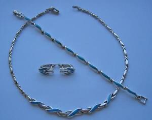 Schmuckset-Silberset-mit-Tuerkise-Collier-Armband-Ohrringe-aus-925-Silber-Silver