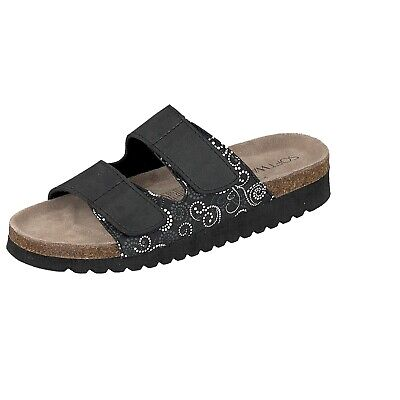 Supersoft Damen Schuhe Hausschuhe Klett Leder Fußbett Pantoffel 274 255 Schwarz | eBay