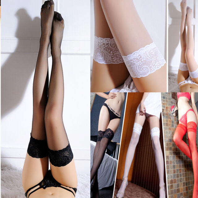 Women Lace Sheer Over Knee Thigh Stockings High Socks Pantyhose Tights New