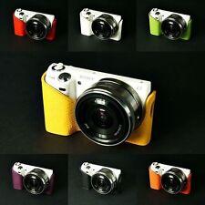 Hecho A Mano real medio Estuche De Cuero cámara caso bolsa de cámara para SONY Nex5n 7 Colores