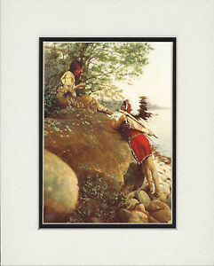 Native-American-Indian-Valentines-Matted-Art-Print-034-The-Wooing-034-vintage-photo