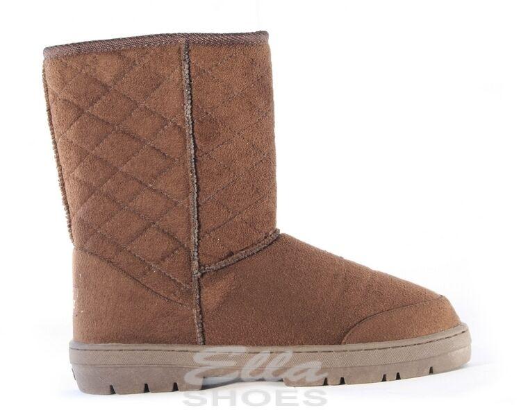 Ella Perth Brown Ladies Vegan Boots Slip On Ankle Fax Fur Boot