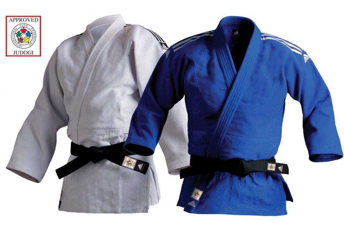 Adidas Champion II Ijf Judo Ideale Rosso Label Uniforme Resistente Gi Blu Bianco